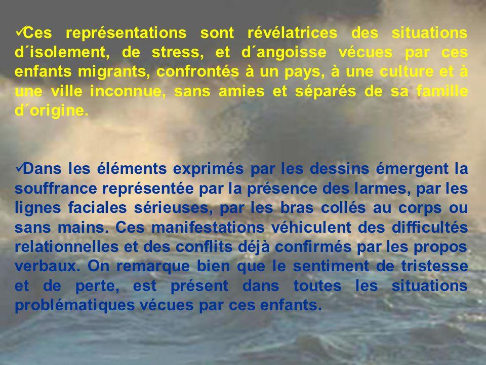Ces représentations sont révélatrices des situations d´isolement, de stress, et d´angoisse vécues par ces enfants migrants, confrontés à un pays, à un