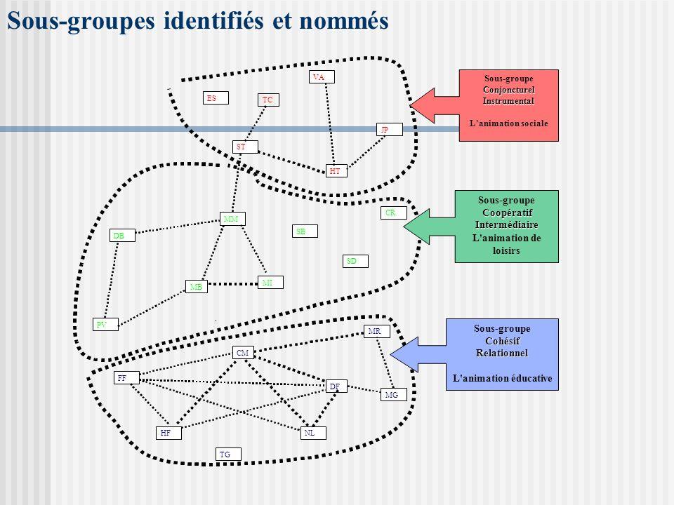 Sous-groupes identifiés et nommés