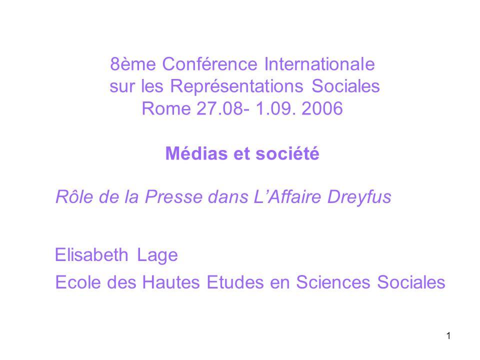 1 8ème Conférence Internationale sur les Représentations Sociales Rome 27.08- 1.09. 2006 Médias et société Rôle de la Presse dans LAffaire Dreyfus Eli