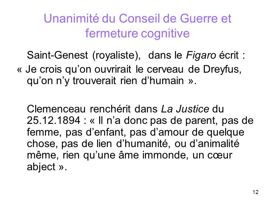 12 Unanimité du Conseil de Guerre et fermeture cognitive Saint-Genest (royaliste), dans le Figaro écrit : « Je crois quon ouvrirait le cerveau de Drey