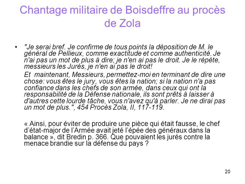 20 Chantage militaire de Boisdeffre au procès de Zola