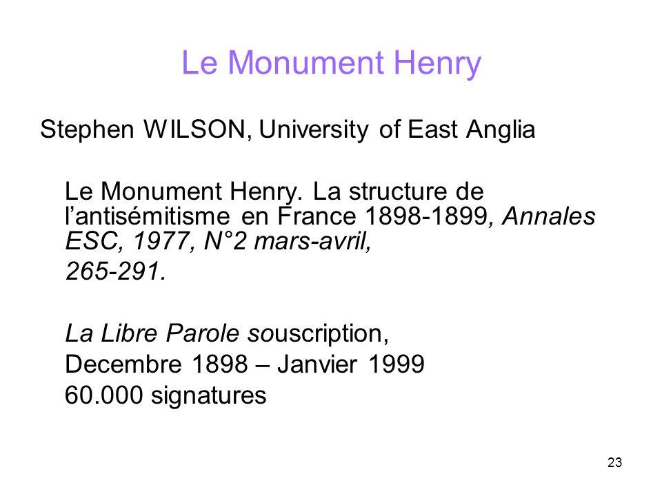 23 Le Monument Henry Stephen WILSON, University of East Anglia Le Monument Henry. La structure de lantisémitisme en France 1898-1899, Annales ESC, 197