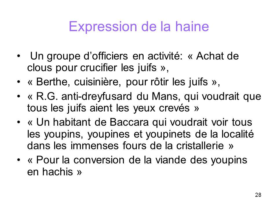 28 Expression de la haine Un groupe dofficiers en activité: « Achat de clous pour crucifier les juifs », « Berthe, cuisinière, pour rôtir les juifs »,