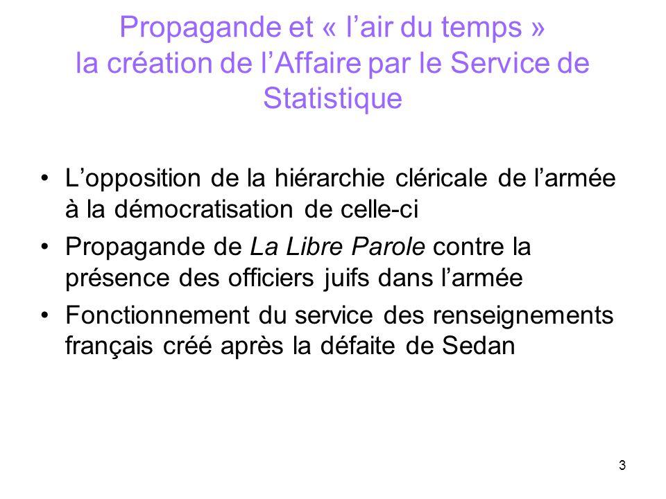 3 Propagande et « lair du temps » la création de lAffaire par le Service de Statistique Lopposition de la hiérarchie cléricale de larmée à la démocrat