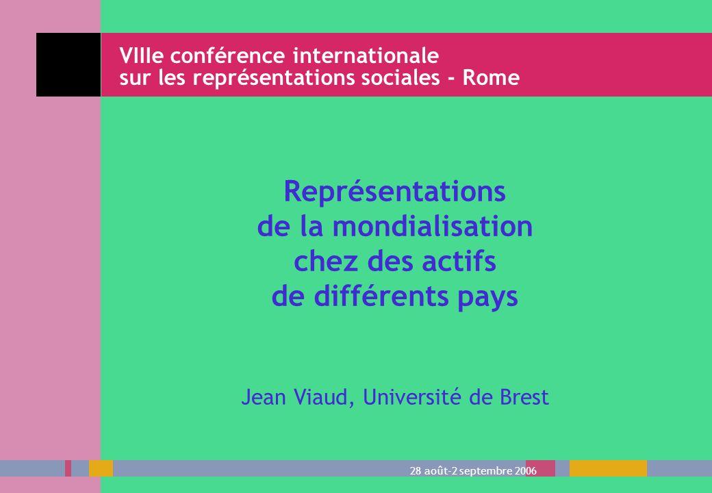 Représentations de la mondialisation chez des actifs de différents pays Jean Viaud, Université de Brest VIIIe conférence internationale sur les représ