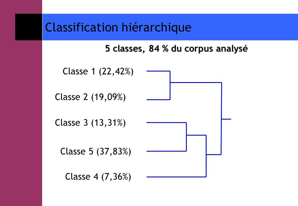 Classification hiérarchique 5 classes, 84 % du corpus analysé Classe 1 (22,42%) Classe 2 (19,09%) Classe 3 (13,31%) Classe 5 (37,83%) Classe 4 (7,36%)