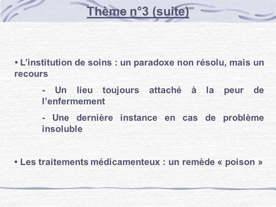 Linstitution de soins : un paradoxe non résolu, mais un recours - Un lieu toujours attaché à la peur de lenfermement - Une dernière instance en cas de problème insoluble Les traitements médicamenteux : un remède « poison » Thème n°3 (suite)