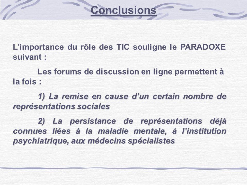 Conclusions Limportance du rôle des TIC souligne le PARADOXE suivant : Les forums de discussion en ligne permettent à la fois : 1) La remise en cause