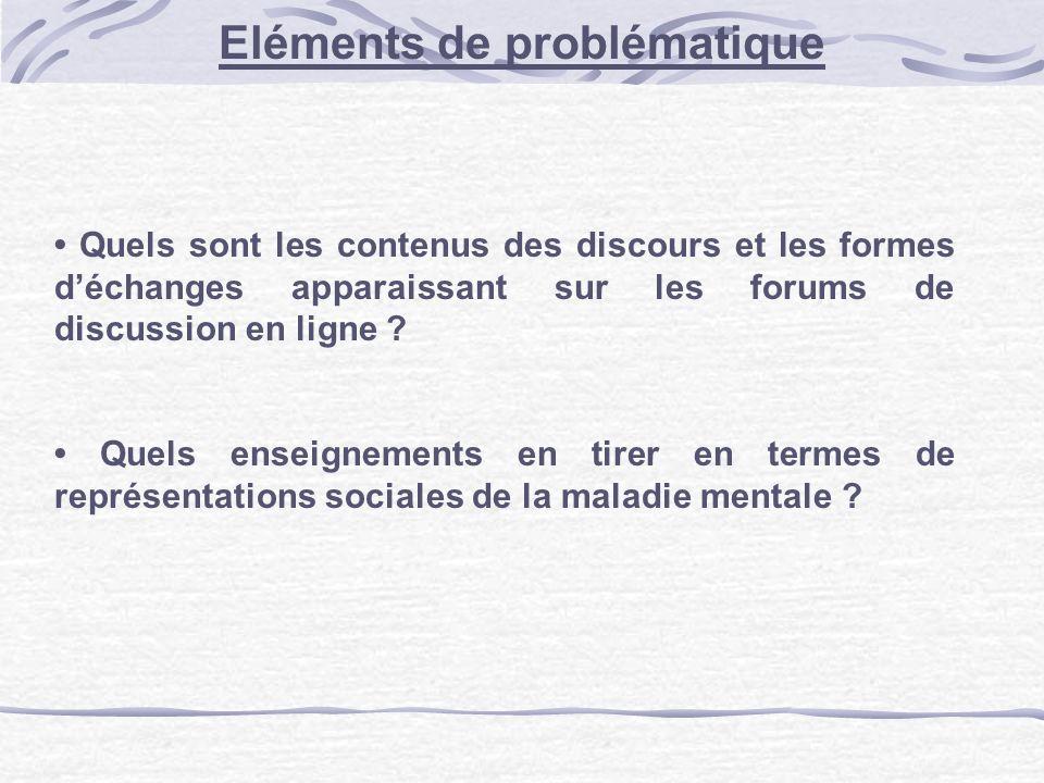 Eléments de problématique Quels sont les contenus des discours et les formes déchanges apparaissant sur les forums de discussion en ligne ? Quels ense