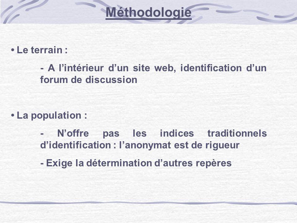 Méthodologie Le terrain : - A lintérieur dun site web, identification dun forum de discussion La population : - Noffre pas les indices traditionnels d