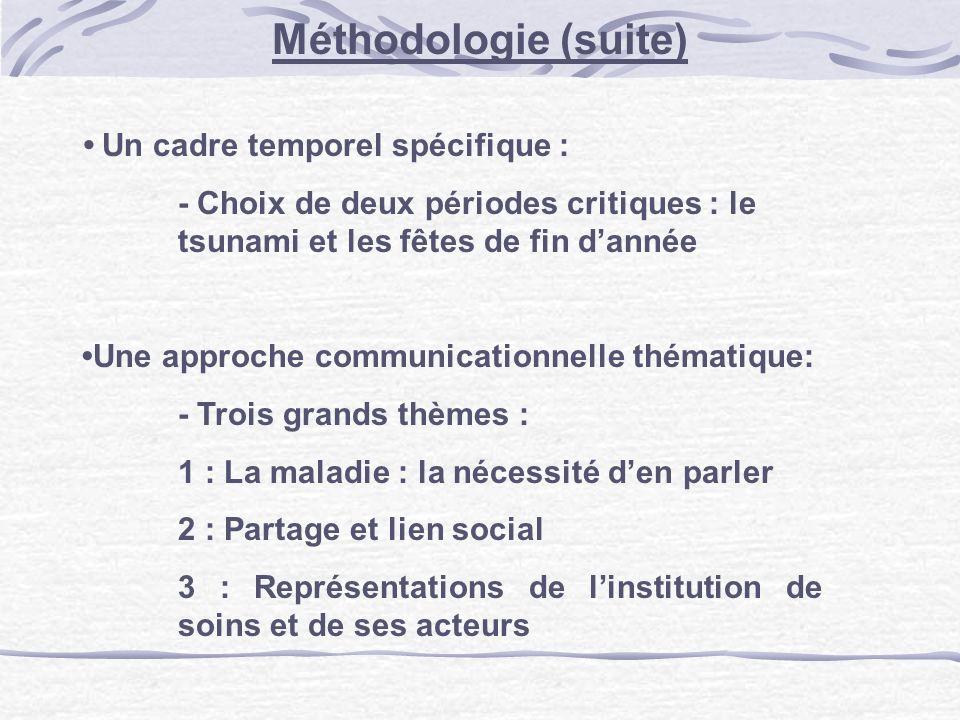 Un cadre temporel spécifique : - Choix de deux périodes critiques : le tsunami et les fêtes de fin dannée Une approche communicationnelle thématique: