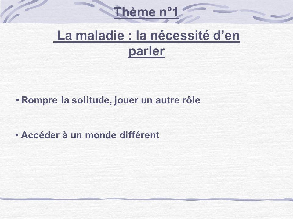 Thème n°2 Partage et lien social Le partage dune souffrance Le besoin de faire lien avec lautre La recherche dune autre famille : - Trouver un espace de confiance et de confidence - Conjurer les difficultés de la « vraie » famille :.