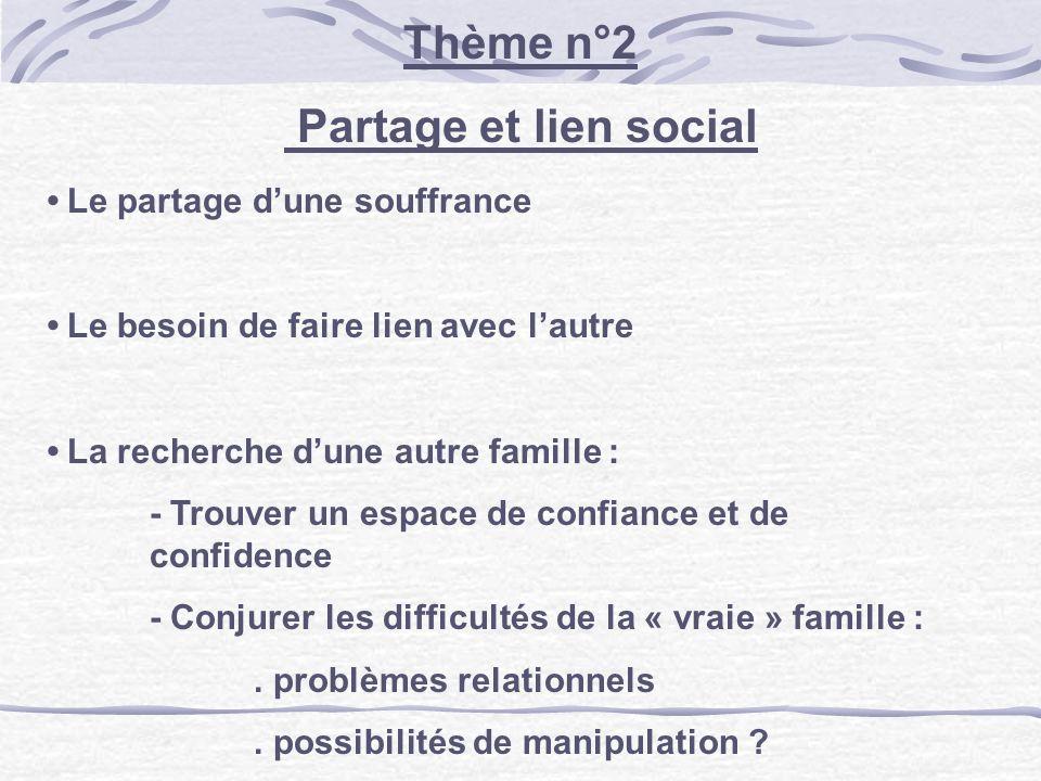 Thème n°2 Partage et lien social Le partage dune souffrance Le besoin de faire lien avec lautre La recherche dune autre famille : - Trouver un espace