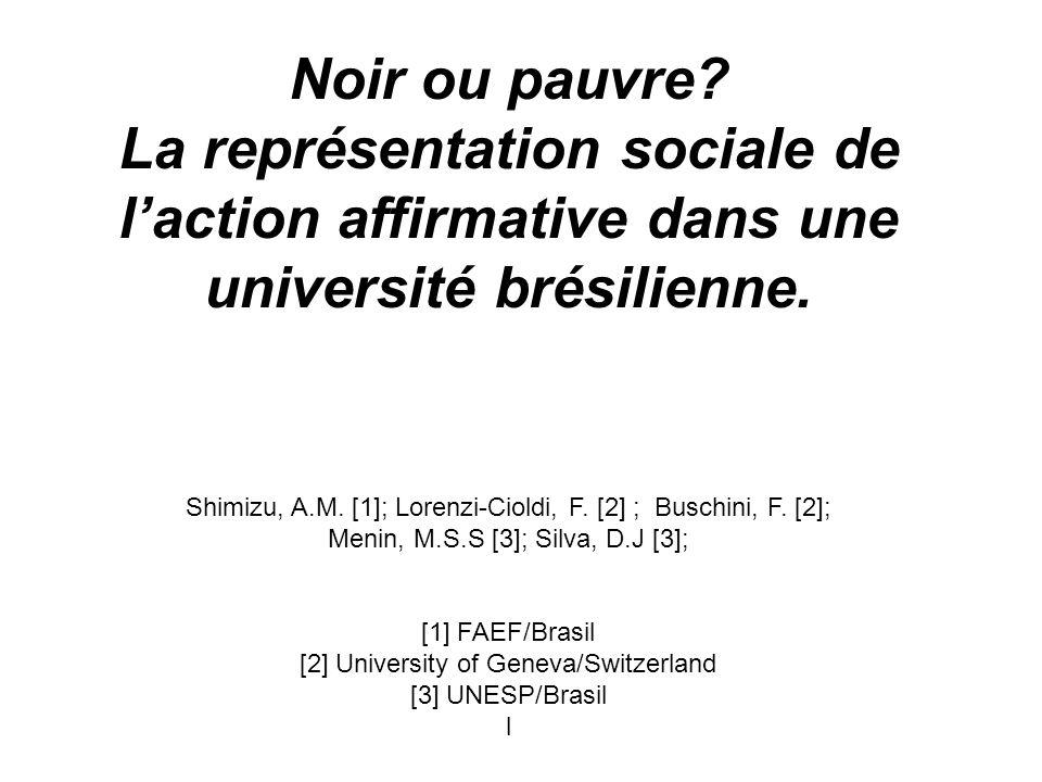 INTRODUCTION Cette étude a pour but dexaminer les représentations détudiants brésiliens sur les politiques de discrimination positive en faveur de certaines minorités pour laccès à lUniversité.
