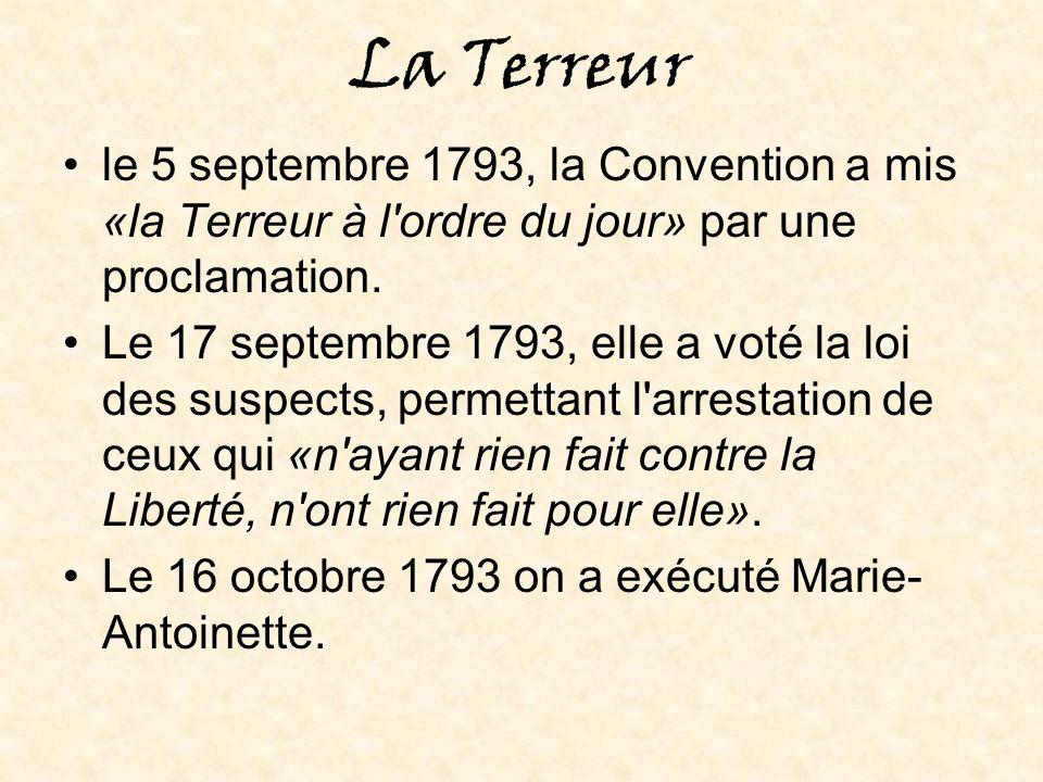La fin de la Terreur et de la Révolution On a accusé Robespierre.