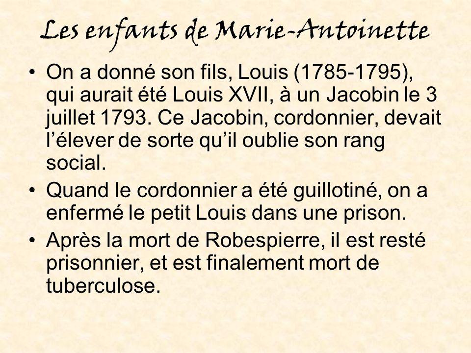 Les enfants de Marie-Antoinette On a donné son fils, Louis (1785-1795), qui aurait été Louis XVII, à un Jacobin le 3 juillet 1793.