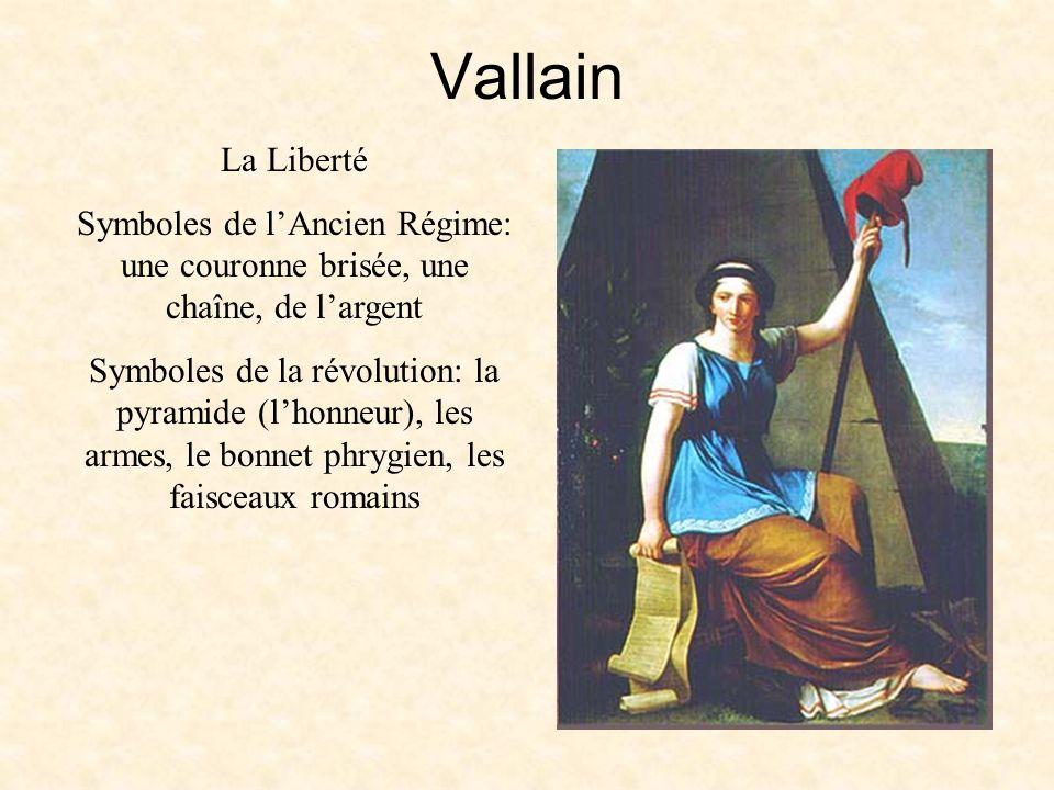 Vallain La Liberté Symboles de lAncien Régime: une couronne brisée, une chaîne, de largent Symboles de la révolution: la pyramide (lhonneur), les armes, le bonnet phrygien, les faisceaux romains