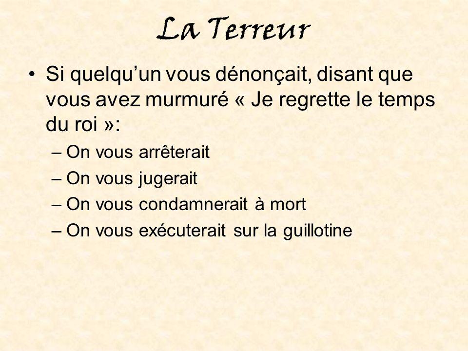 La fin de la Terreur Robespierre a proclamé le dogme officiel de l Être Suprême: –Les églises sont devenues des Temples à la Raison (Robespierre a perdu son pouvoir et a été guillotiné à son tour en 1794) (Le Comité de salut public a été aboli) (C était la fin de la Terreur en 1794)