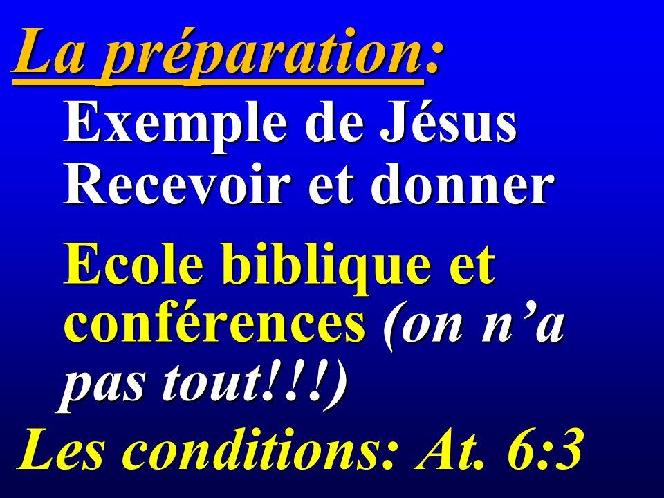 La préparation: Ecole biblique et conférences (on na pas tout!!!) Exemple de Jésus Recevoir et donner Les conditions: At.