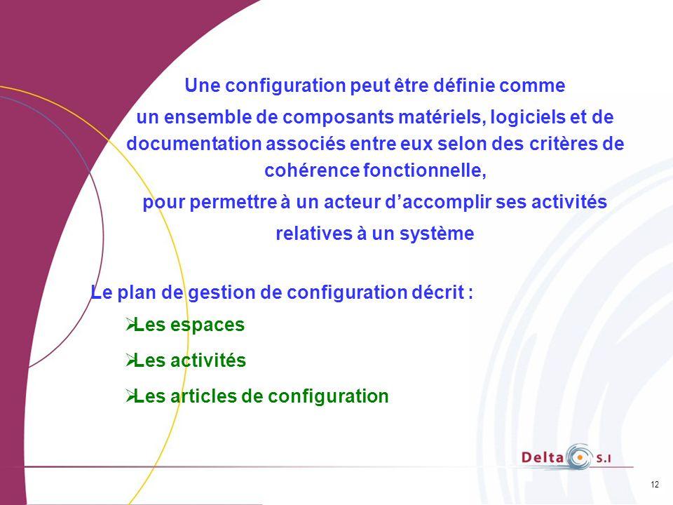 12 Une configuration peut être définie comme un ensemble de composants matériels, logiciels et de documentation associés entre eux selon des critères