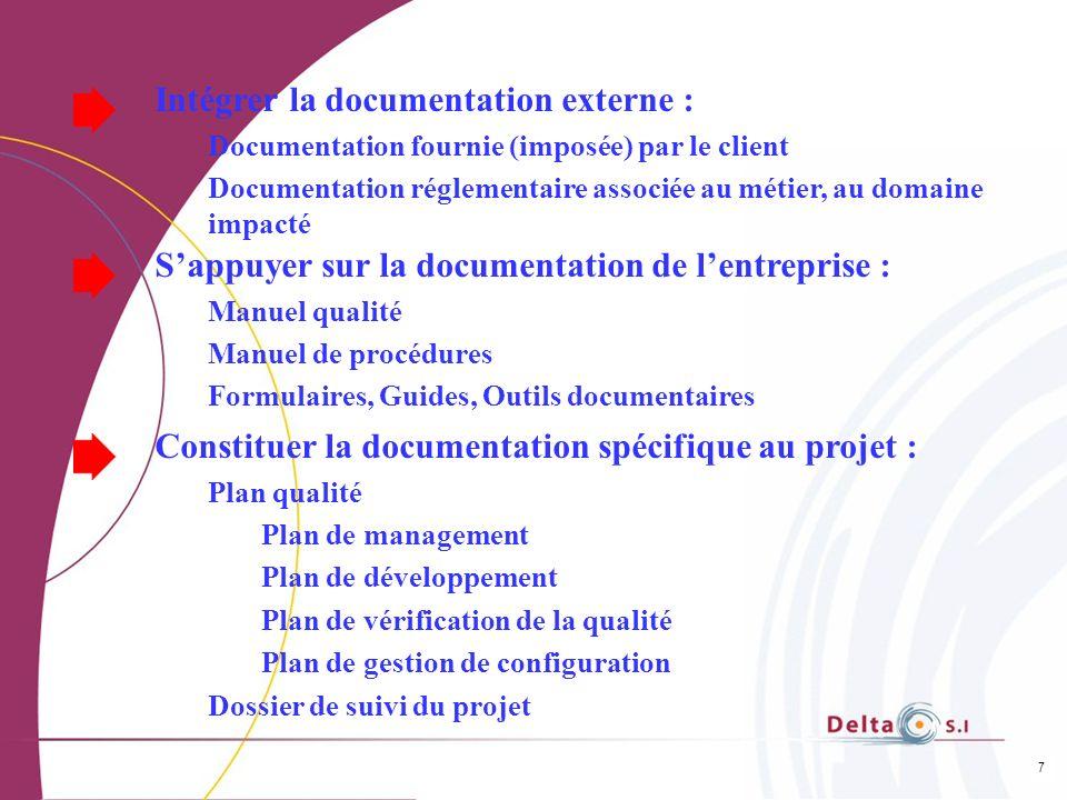 7 Intégrer la documentation externe : Documentation fournie (imposée) par le client Documentation réglementaire associée au métier, au domaine impacté