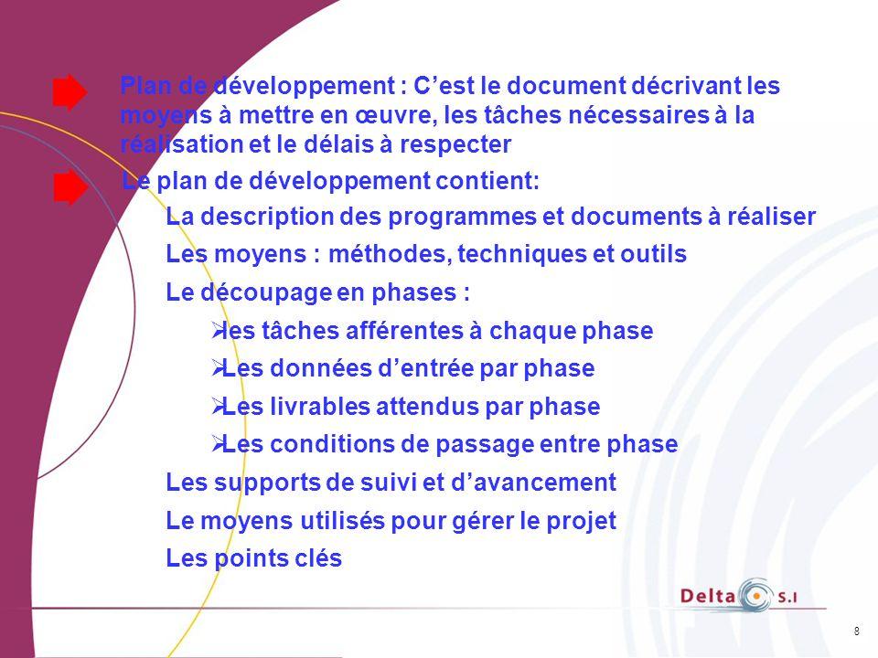 8 Plan de développement : Cest le document décrivant les moyens à mettre en œuvre, les tâches nécessaires à la réalisation et le délais à respecter Le
