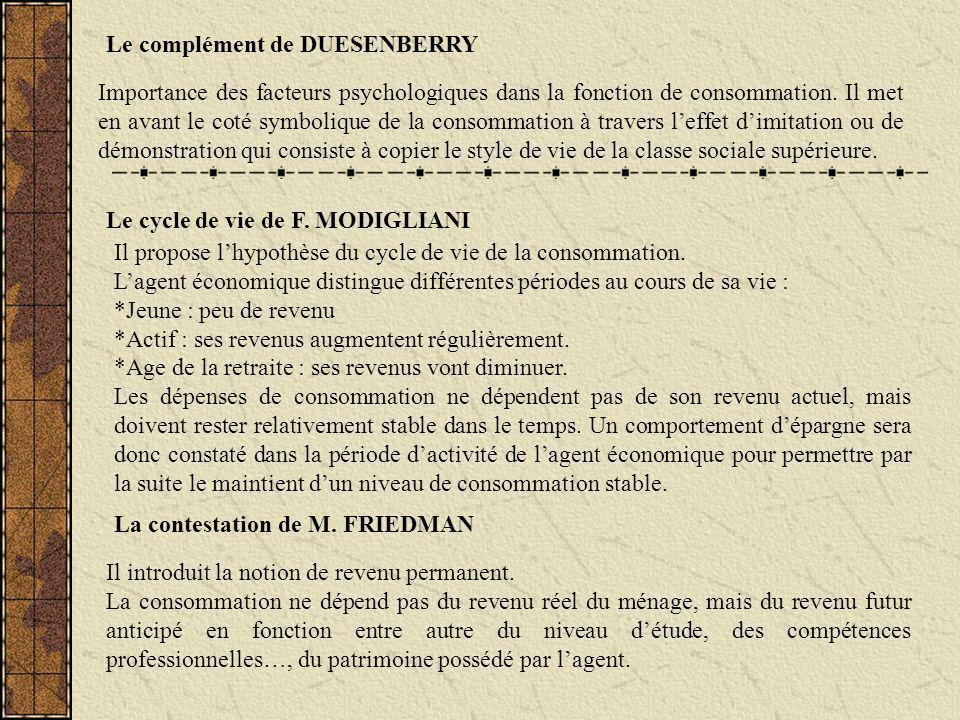 Le complément de DUESENBERRY Le cycle de vie de F. MODIGLIANI La contestation de M. FRIEDMAN Importance des facteurs psychologiques dans la fonction d