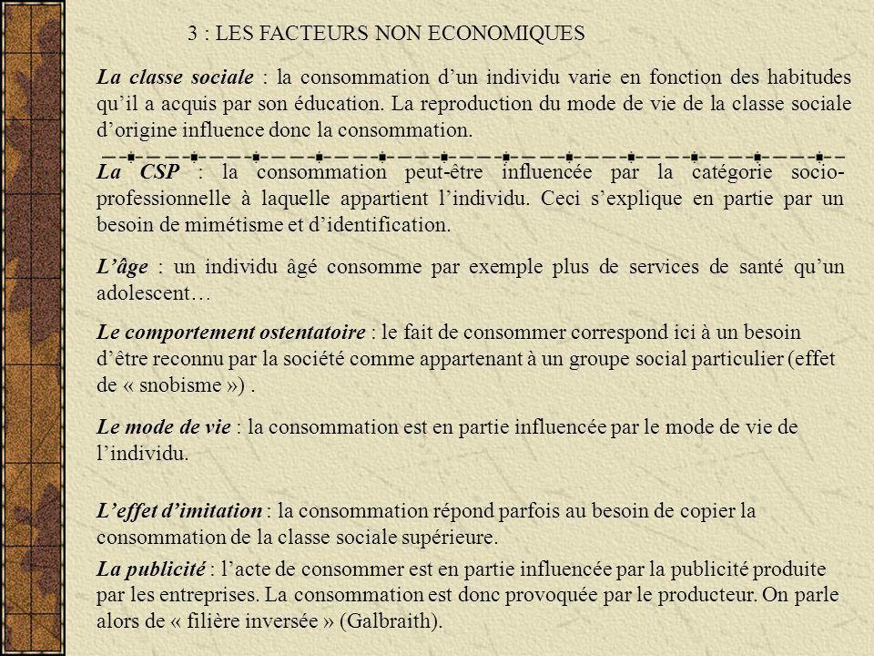 La classe sociale : la consommation dun individu varie en fonction des habitudes quil a acquis par son éducation. La reproduction du mode de vie de la