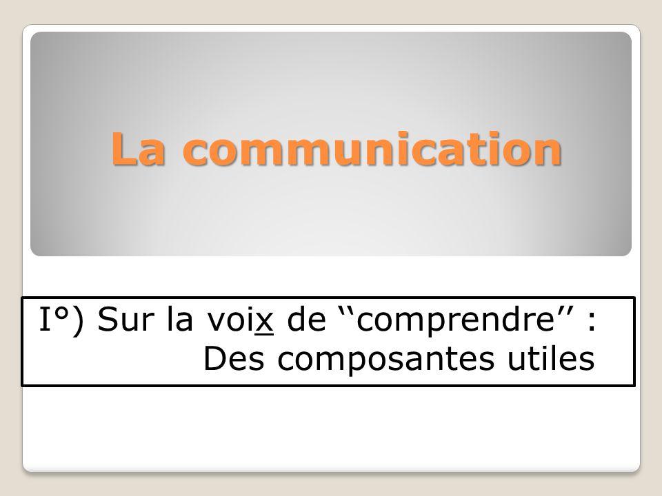 La communication I°) Sur la voix de comprendre : Des composantes utiles