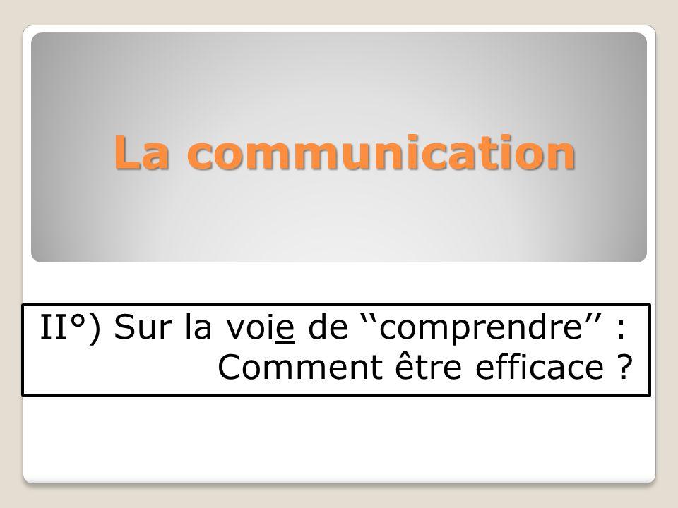 La communication II°) Sur la voie de comprendre : Comment être efficace ?