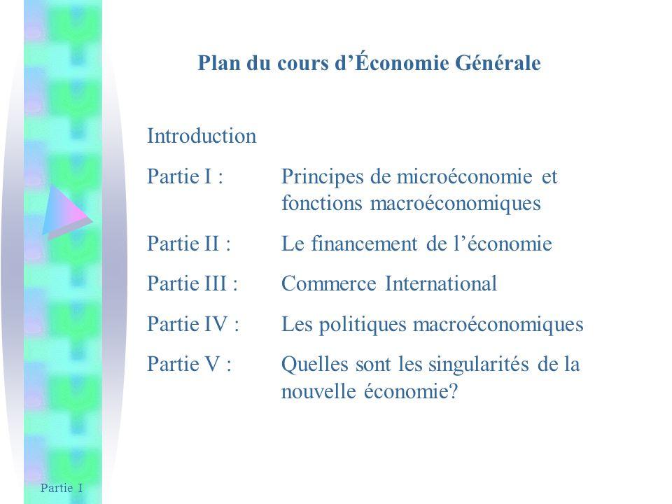 Partie I Plan du cours dÉconomie Générale Introduction Partie I : Principes de microéconomie et fonctions macroéconomiques Partie II : Le financement