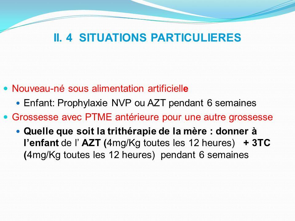 II. 4 SITUATIONS PARTICULIERES Nouveau-né sous alimentation artificielle Enfant: Prophylaxie NVP ou AZT pendant 6 semaines Grossesse avec PTME antérie