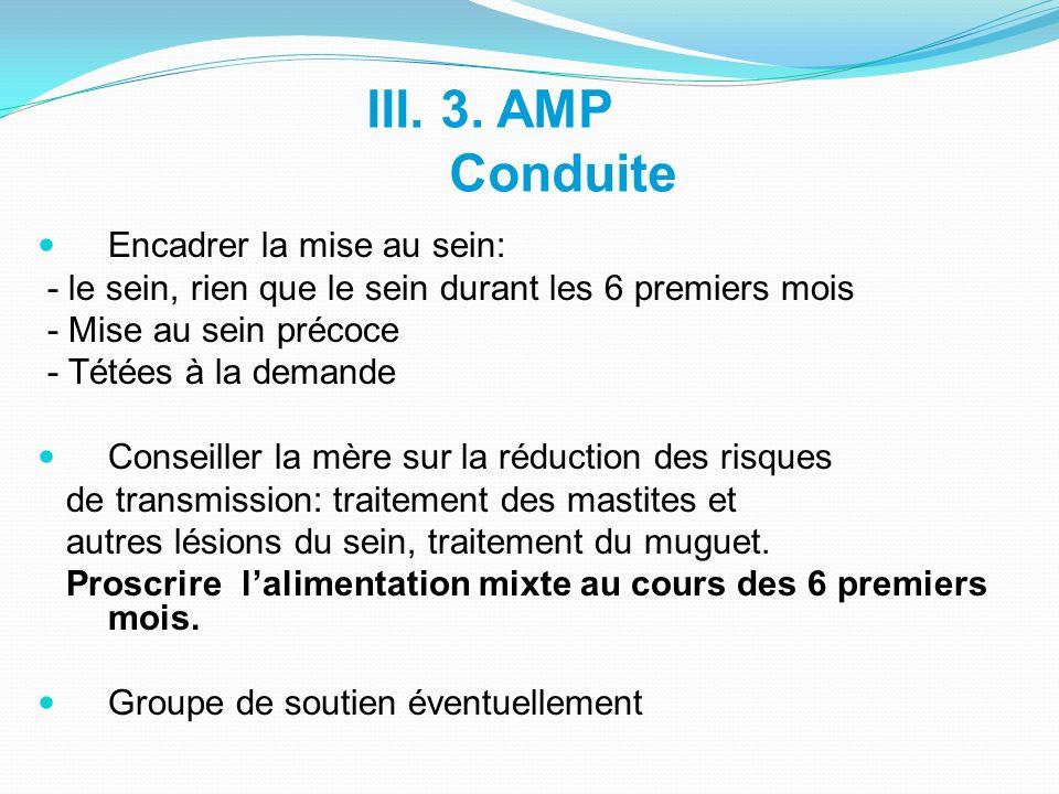 III. 3. AMP Conduite Encadrer la mise au sein: - le sein, rien que le sein durant les 6 premiers mois - Mise au sein précoce - Tétées à la demande Con