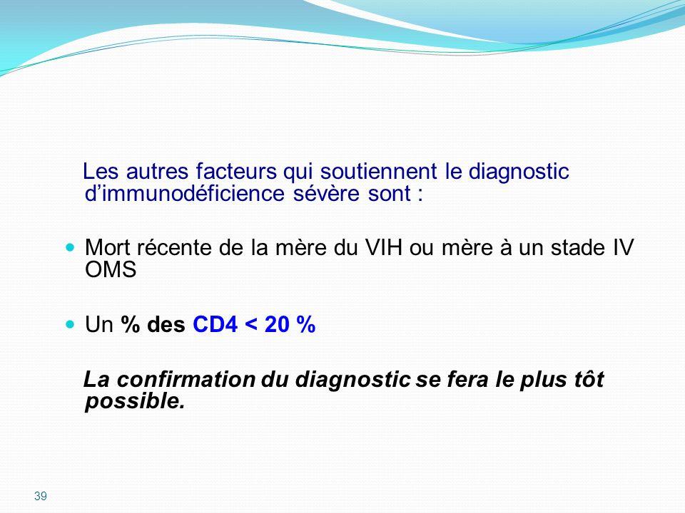 Les autres facteurs qui soutiennent le diagnostic dimmunodéficience sévère sont : Mort récente de la mère du VIH ou mère à un stade IV OMS Un % des CD