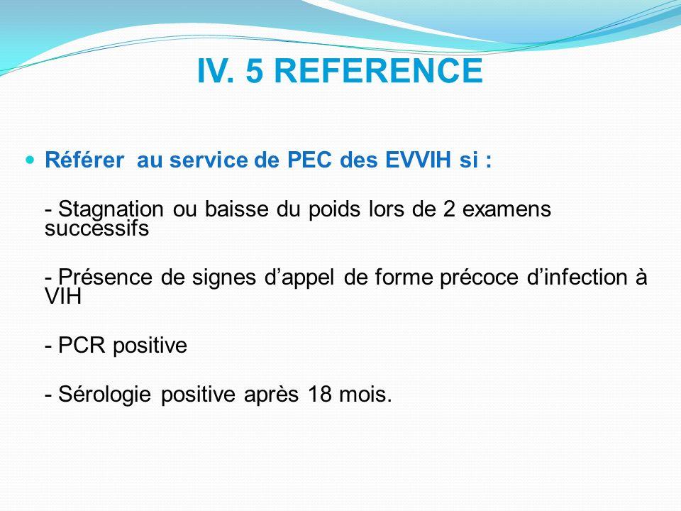 IV. 5 REFERENCE Référer au service de PEC des EVVIH si : - Stagnation ou baisse du poids lors de 2 examens successifs - Présence de signes dappel de f