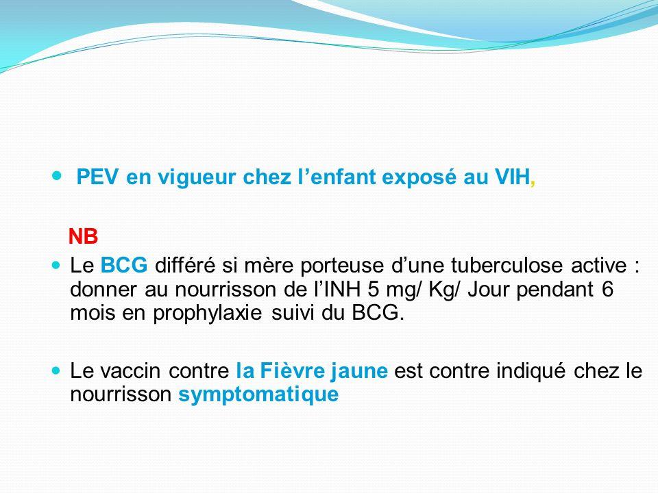 PEV en vigueur chez lenfant exposé au VIH, NB Le BCG différé si mère porteuse dune tuberculose active : donner au nourrisson de lINH 5 mg/ Kg/ Jour pe