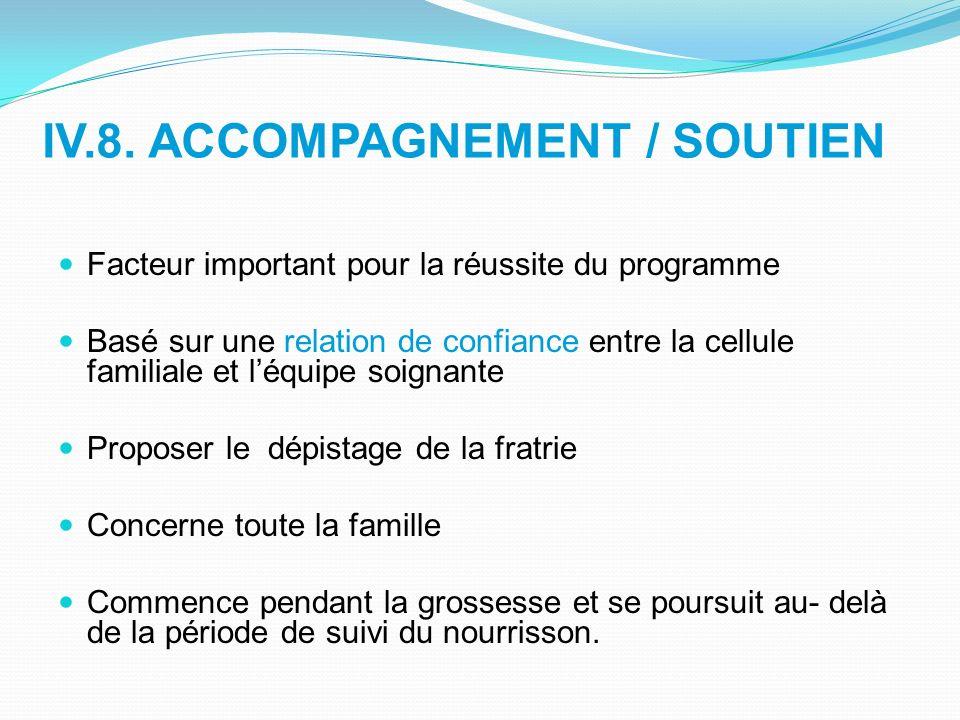 IV.8. ACCOMPAGNEMENT / SOUTIEN Facteur important pour la réussite du programme Basé sur une relation de confiance entre la cellule familiale et léquip