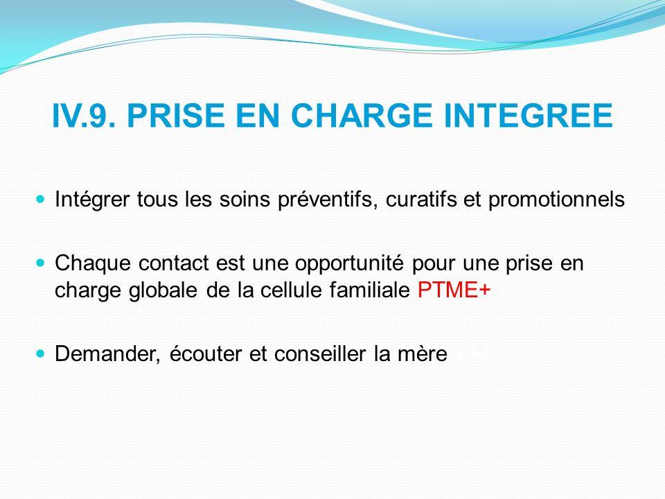 IV.9. PRISE EN CHARGE INTEGREE Intégrer tous les soins préventifs, curatifs et promotionnels Chaque contact est une opportunité pour une prise en char