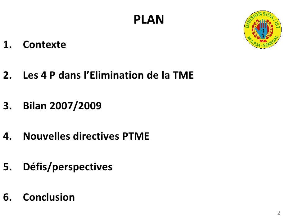 PLAN 1.Contexte 2.Les 4 P dans lElimination de la TME 3.Bilan 2007/2009 4.Nouvelles directives PTME 5.Défis/perspectives 6.Conclusion 2