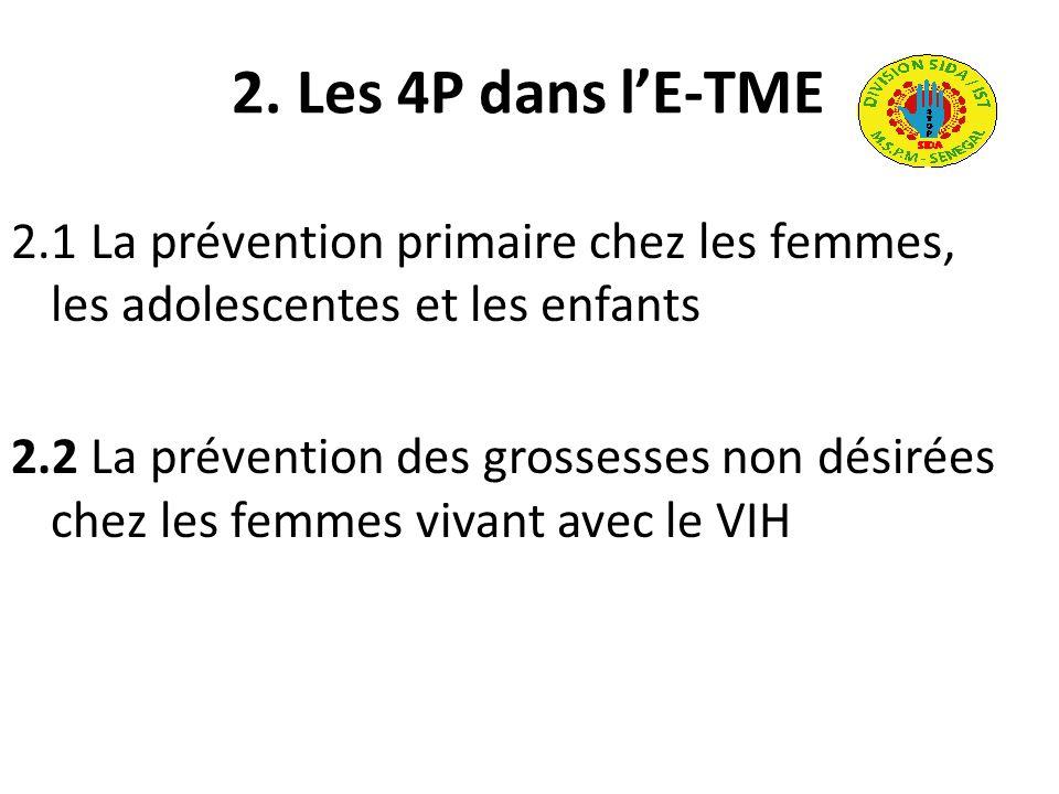 2. Les 4P dans lE-TME 2.1 La prévention primaire chez les femmes, les adolescentes et les enfants 2.2 La prévention des grossesses non désirées chez l