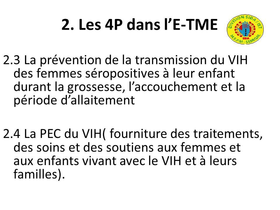 2. Les 4P dans lE-TME 2.3 La prévention de la transmission du VIH des femmes séropositives à leur enfant durant la grossesse, laccouchement et la péri