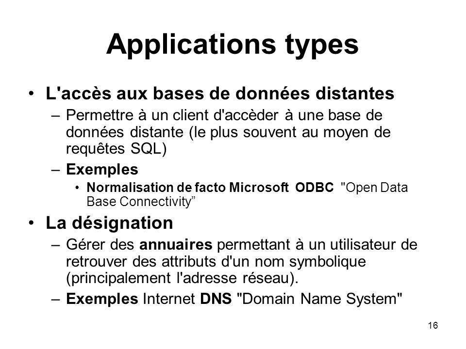 16 Applications types L'accès aux bases de données distantes –Permettre à un client d'accèder à une base de données distante (le plus souvent au moyen