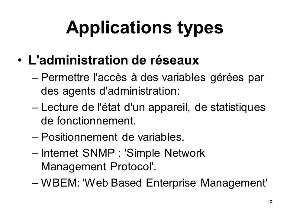 18 Applications types L'administration de réseaux –Permettre l'accès à des variables gérées par des agents d'administration: –Lecture de l'état d'un a