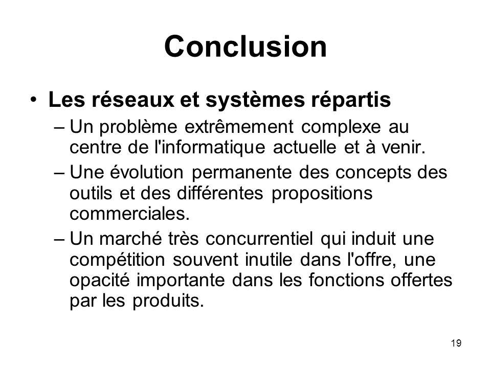 19 Conclusion Les réseaux et systèmes répartis –Un problème extrêmement complexe au centre de l'informatique actuelle et à venir. –Une évolution perma