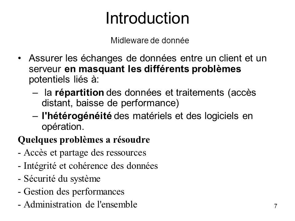8 Introduction exemple de Midleware de donnée Exemple de travail le plus fréquent en client/serveur: envoyer des requêtes d accès à des données (type SQL) d un client vers un serveur et recevoir les résultats.
