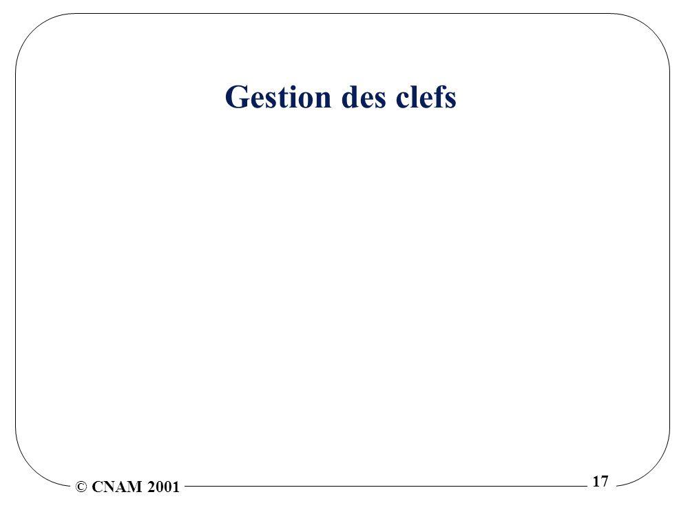 © CNAM 2001 17 Gestion des clefs