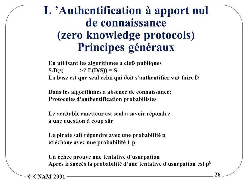 © CNAM 2001 26 L Authentification à apport nul de connaissance (zero knowledge protocols) Principes généraux En utilisant les algorithmes a clefs publiques S,D(s)-------->.