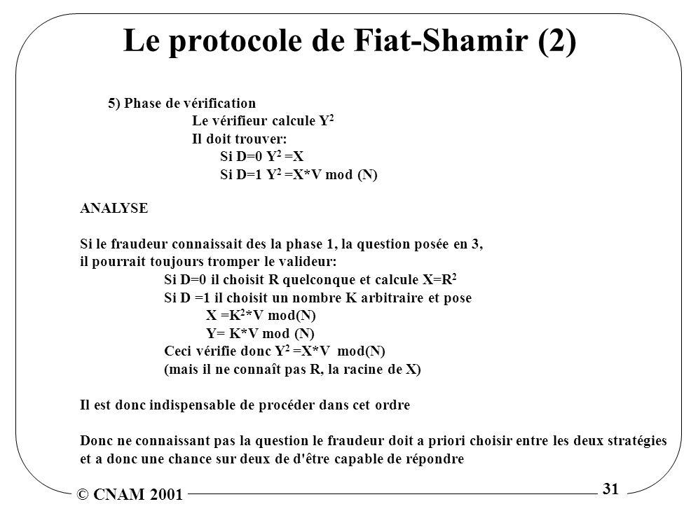 © CNAM 2001 31 Le protocole de Fiat-Shamir (2) 5) Phase de vérification Le vérifieur calcule Y 2 Il doit trouver: Si D=0 Y 2 =X Si D=1 Y 2 =X*V mod (N) ANALYSE Si le fraudeur connaissait des la phase 1, la question posée en 3, il pourrait toujours tromper le valideur: Si D=0 il choisit R quelconque et calcule X=R 2 Si D =1 il choisit un nombre K arbitraire et pose X =K 2 *V mod(N) Y= K*V mod (N) Ceci vérifie donc Y 2 =X*V mod(N) (mais il ne connaît pas R, la racine de X) Il est donc indispensable de procéder dans cet ordre Donc ne connaissant pas la question le fraudeur doit a priori choisir entre les deux stratégies et a donc une chance sur deux de d être capable de répondre
