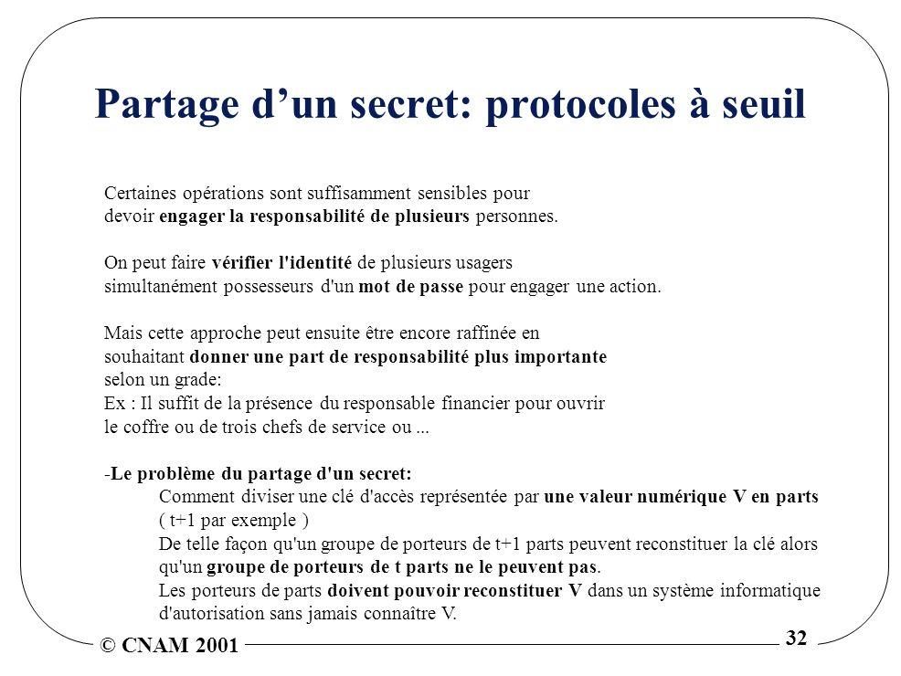 © CNAM 2001 32 Partage dun secret: protocoles à seuil Certaines opérations sont suffisamment sensibles pour devoir engager la responsabilité de plusieurs personnes.