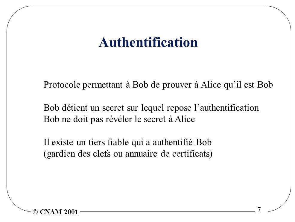 © CNAM 2001 7 Authentification Protocole permettant à Bob de prouver à Alice quil est Bob Bob détient un secret sur lequel repose lauthentification Bob ne doit pas révéler le secret à Alice Il existe un tiers fiable qui a authentifié Bob (gardien des clefs ou annuaire de certificats)